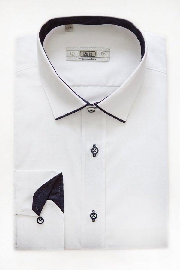 Koszula dziecięca - biała z granatowymi dodatkami