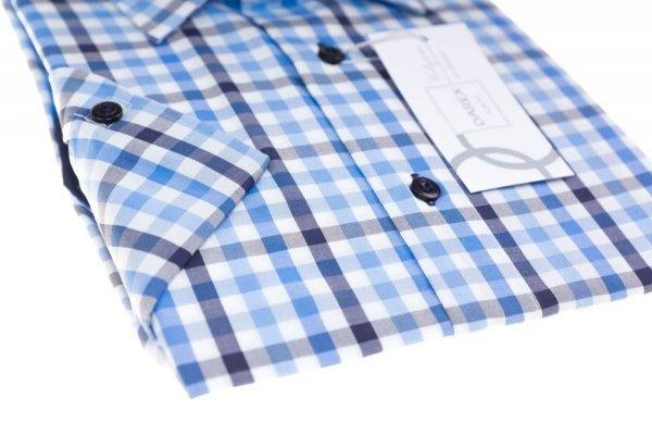 Koszula długi rękaw Slim - w niebiesko-biało-granatową kratę