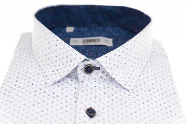 Koszula męska Slim - biała w granatowy wzorek
