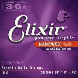 Elixir NanoWeb Bronze Custom Light 11-52 Struny do gitary akustycznej