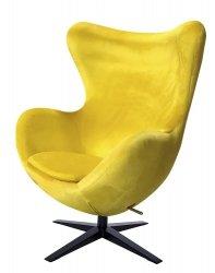 Fotel EGG SZEROKI VELVET BLACK żółty