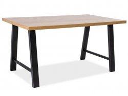 Stół ABRAMO 180x90 lity dąb/czarny
