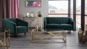 Sofa ASPREY VELVET ciemno-zielona