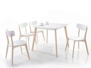 Stół TIBI 90x80 biały/dąb bielony