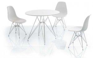 Stół okrągły NITRO 90x74 biały/chrom