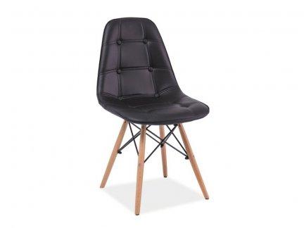 Krzesło ekoskóra AXEL czarne/buk