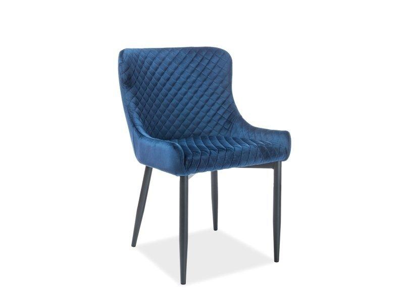 Krzesło COLIN VELVET granatowo-czarne
