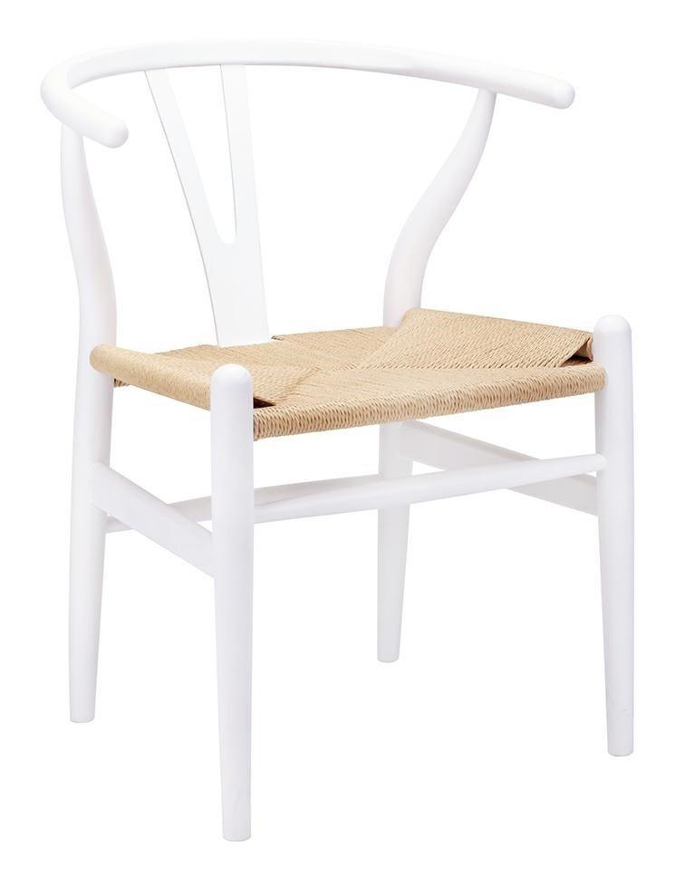 Krzesło WISHBONE białe/naturalne