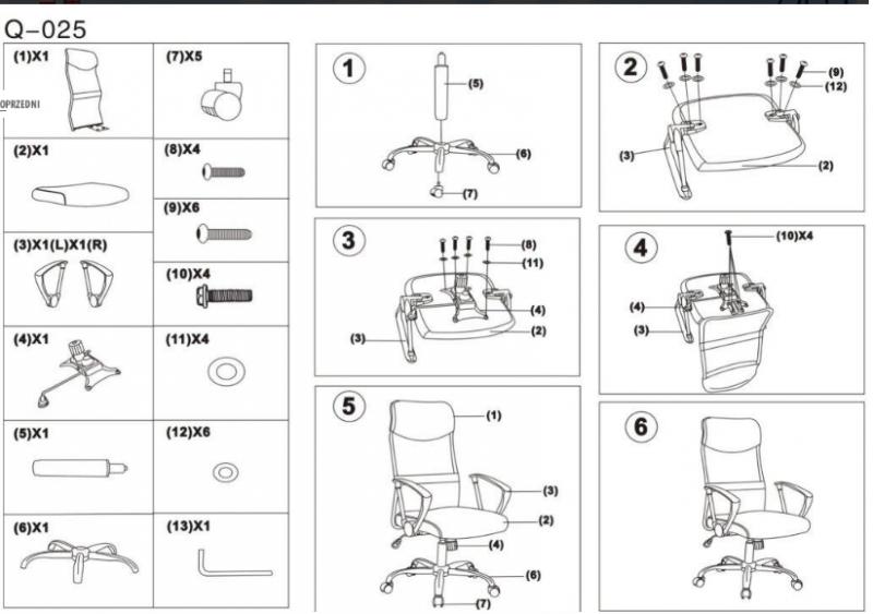 Fotel obrotowy Q-025 czerwony/czarny