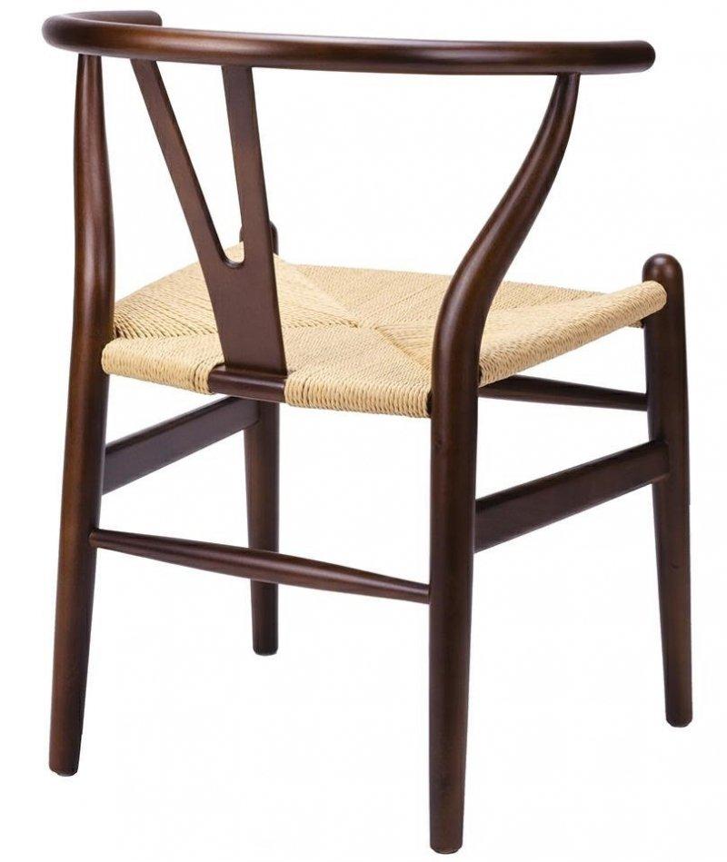 Krzesło WISHBONE ciemno brązowe/naturalne