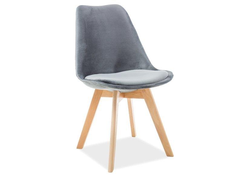 Krzesło DIOR VELVET buk/szary