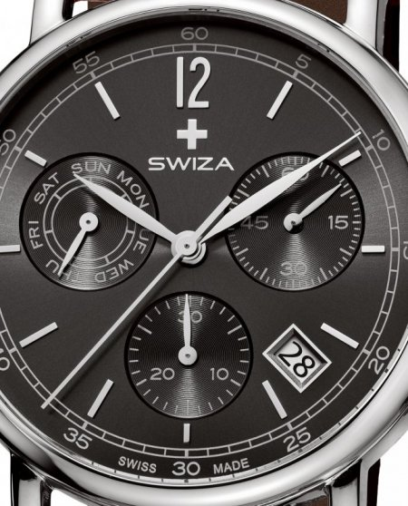 Zegarek SWIZA Alza Chrono SST anthracite-brown WAT.0153.1003