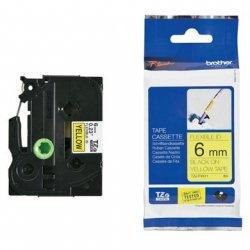 Taśma Brother laminowana elastyczna Flexi ID 6mm x 8m czarny nadruk /żółte tło