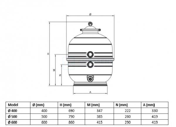Filtr piaskowy MIDI 600 z zaworem bocznym