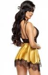 Beauty Night Eve rozkloszowana koszulka i stringi złota tył