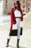 Długi trójkolorowy sweter kardigan bordowy S70-1