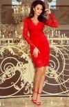 Koronkowa dopasowana sukiena Numoco czerwona 170-6-2