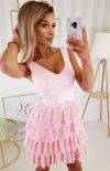 Elegancka sukienka z koronką różowa 2211-12