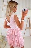 Elegancka sukienka z koronką różowa 2211-12 tył