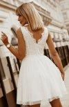 Rozkloszowana sukienka z koronką ecru Bicotone 2206-04 tył