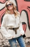 Oversizowy sweter ecru S74-1