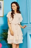 *Zwiewna beżowa sukienka z falbankami L303