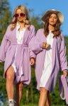 Kaszmirowy sweter z wiązaniem fioletowy Fobya F1120