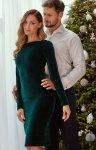 Welurowa zielona ołówkowa sukienka Moe M565