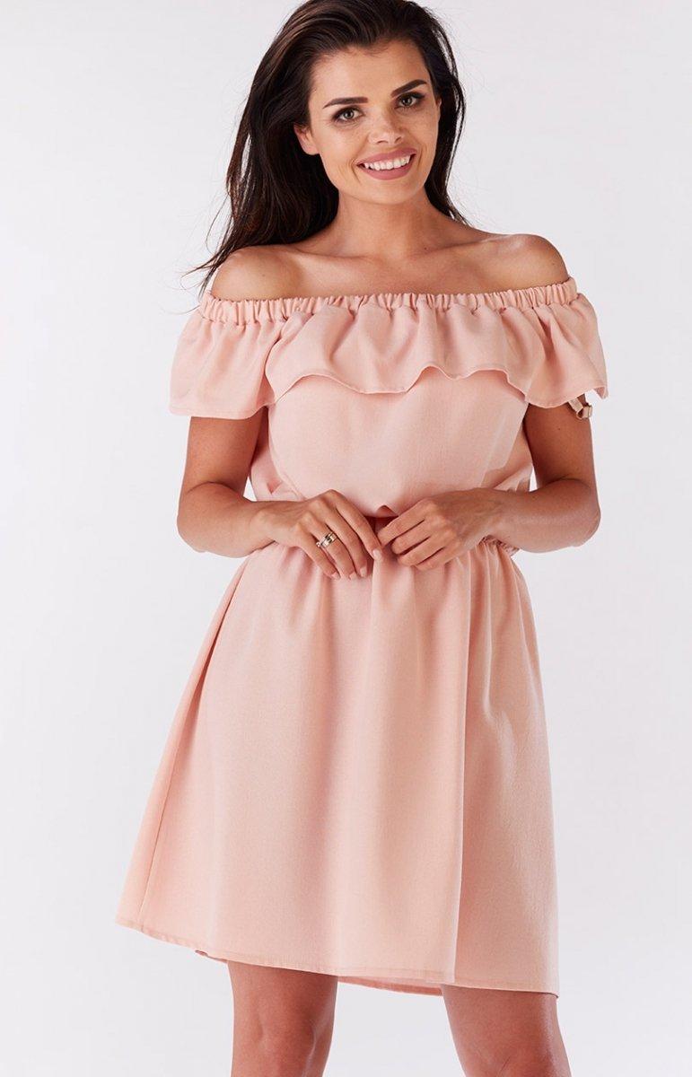 2846ac6999 Preferowane Awama A185 sukienka pudrowy róż - Sukienki letnie 2017 -  Sukienki YM-17