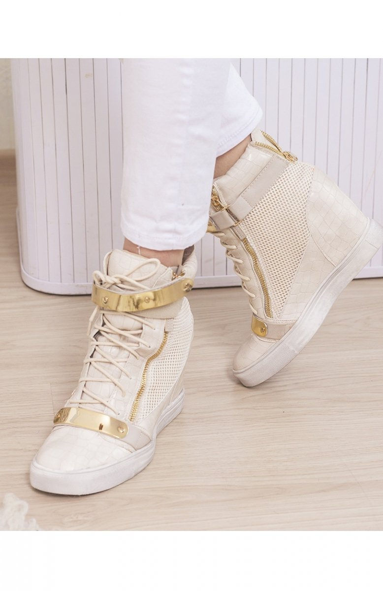 Beżowe sneakersy złote blaszki Modne buty damskie