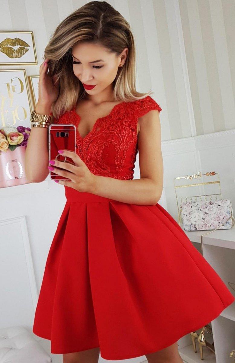 09449c6c2c Bicotone 2139-02 sukienka czerwona - Sukienki rozkloszowane ...