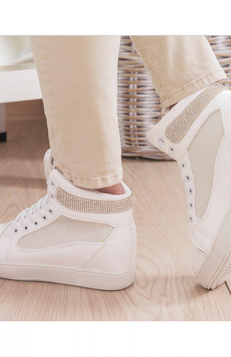 Białe sneakersy połyskujące Modne buty damskie Trampki i