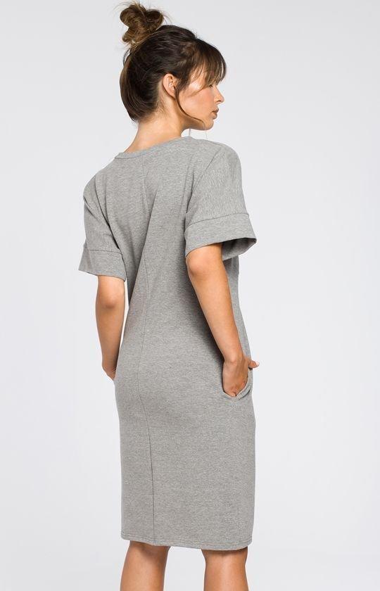 d8c34c7c52 BE B045 sukienka szara - Sukienki na co dzień - Dzienne sukienki ...