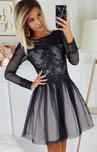 Czarna sukienka z tiulową spódnicą 2194-16