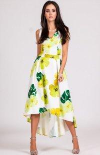 Asymetryczna sukienka w żółte kwiaty 0249