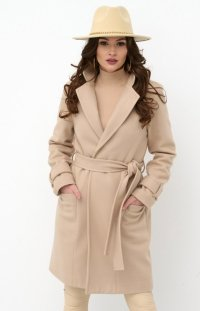 Wiązany płaszcz damski beżowy 0019