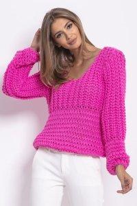 Oversizowy sweter z grubym splotem różowy F760