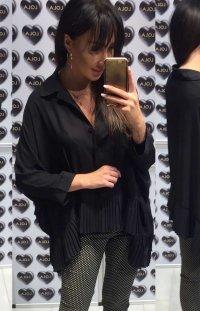 Oversizowa koszula z plisowaniem czarna