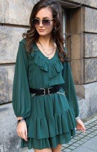 Kobieca sukienka z falbankami zielona 0306