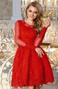 Bicotone 2162-02 sukienka rozkloszowana czerwona