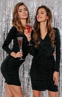 Wieczorowa mini sukienka z brokatem F867