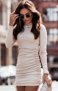 Dopasowana mini sukienka Nastia beżowa
