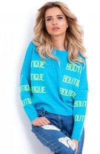 Fobya F623 sweter z napisami turkusowy