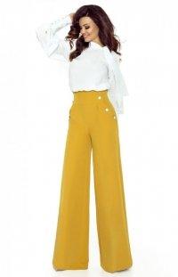 Eleganckie musztardowe spodnie z szerokimi nogawkami