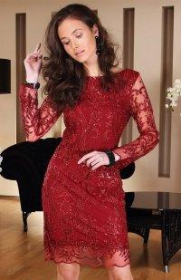 Roco 0122 sukienka bordowa