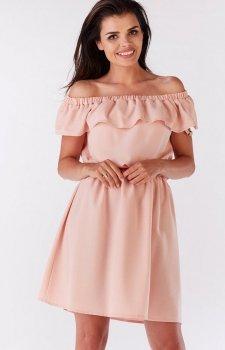 Awama A185 sukienka pudrowy róż