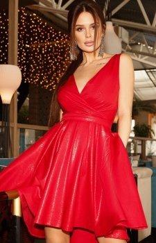 Elegancka malinowa sukienka 2215-27