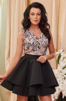 Roco 0157 sukienka różowo-czarna