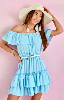 Letnia sukienka hiszpanka błękitna 0291