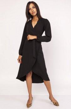Asymetryczna, kopertowa sukienka czarna SUK160